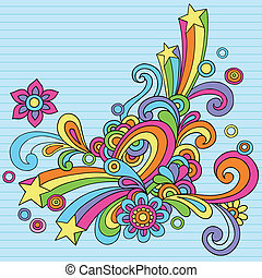 Hand-Drawn Abstract Psychedelic Rainbow Notebook Doodles Design Element on Lined Paper Background- Vector Illustration