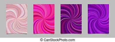 Abstract psychedelic striped spiral pattern brochure background set