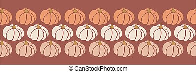 Abstract Pumpkins Seamless vector border. Repeating pattern design for Harvest festival or Thanksgiving day. Feminine earthy colors. Use for greeting cards, footer, header, banner, ribbon, fabric trim