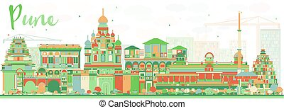 Abstract Pune Skyline with Color Buildings. Vector...