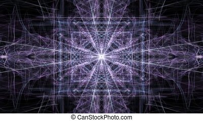 Abstract purple fractal patterns on black background. Crystalic animated ornament in tunnel motion, beautiful decoration.