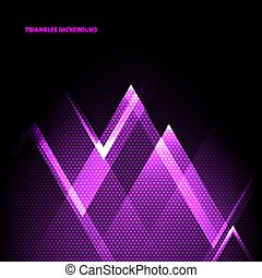 Abstract purple geometric triangles overlapping transparency layer on black background technology concept