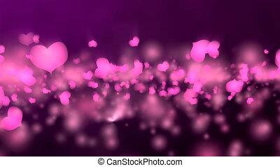 Abstract Purple Romantic Heart Animation.