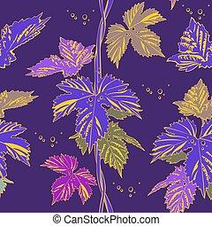 Abstract purple vine liana leaves hops. Seamless vector...