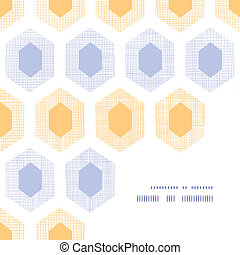 Abstract purple yellow honeycomb fabric textured corner frame pattern background