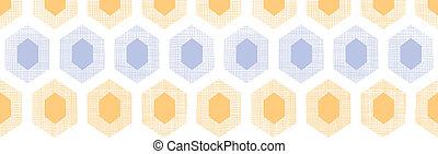 Abstract purple yellow honeycomb fabric textured horizontal seamless pattern background