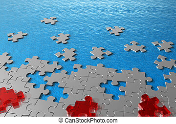 Abstract puzzles in water concept