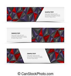 Abstract pyramid horizontal banners