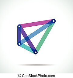 Abstract pyramid logo with intersecting transparent lines
