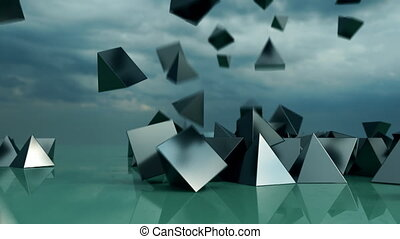 Abstract pyramids falling from sky.