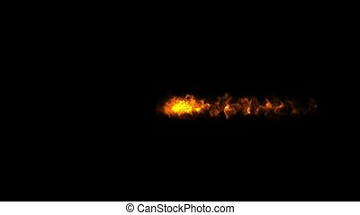 Abstract pyrotechnic flying fireballs explode in a collision