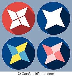 abstract quadrangular shuriken - Set of abstract...