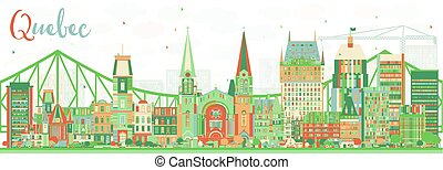 Abstract Quebec Skyline with Color Buildings. Vector Illustration. Business Travel and Tourism Concept with Historic Architecture. Image for Presentation Banner Placard and Web Site.