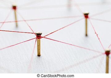 abstract., réseau, fil, toile, communication, social, ...
