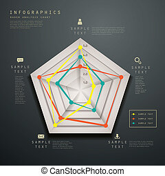 abstract radar chart infographics - realistic vector...