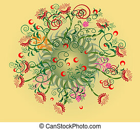 Abstract radial floral design element.