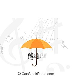 abstract rain of music notes and symbols - illustration