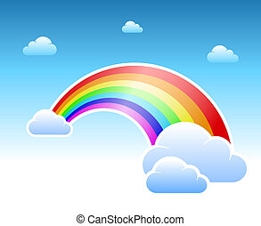 Abstract rainbow and clouds symbol