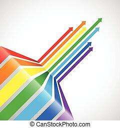 Abstract rainbow arrow background