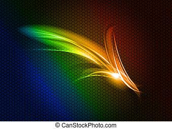 arrow - abstract rainbow arrow on the dark