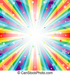 Abstract rainbow background with rays and stars (vector EPS ...