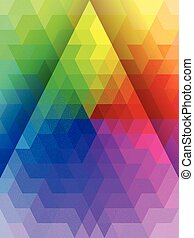 Abstract rainbow color triangle with white line texture