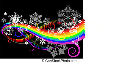 Abstract rainbow curves with snowflakes