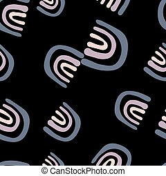Abstract rainbow doodle seamless pattern on black background.