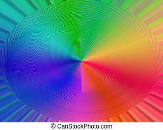 abstract rainbow figure, disco details