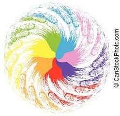 Abstract rainbow flower shape logo