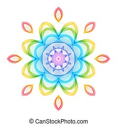 Abstract Rainbow Geometric Flower on White Backdrop.