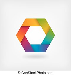 abstract rainbow hexagon