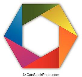 Abstract rainbow hexagon logo