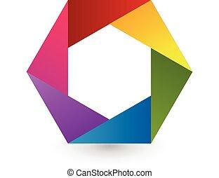 Abstract rainbow hexagon shape logo