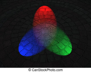 abstract rainbow illumination on round stone surface, disco details