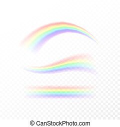 Abstract Rainbow in different shapes. Spectrum of light, seven colors. Vector illustration isolated on transparent background isolated