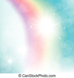 Abstract rainbow in the sky. Abstract background of blue sky, a