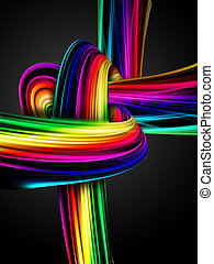 rainbow knot - abstract rainbow knot on a dark background