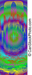 abstract rainbow mosaic reflected in water, disco