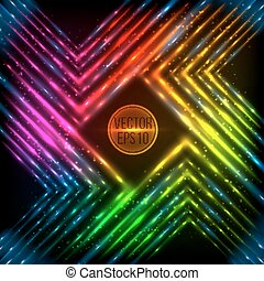 Abstract rainbow neon corners vector background
