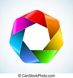 Abstract rainbow polygon icon.