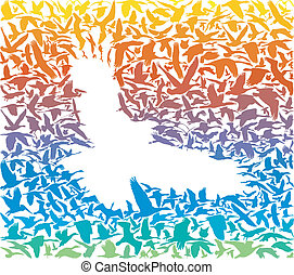 Abstract rainbow predator bird and