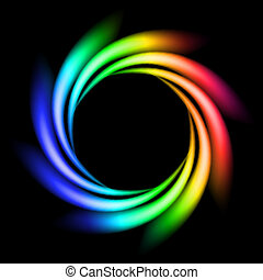 Abstract Rainbow Ray of lights explosion on black background