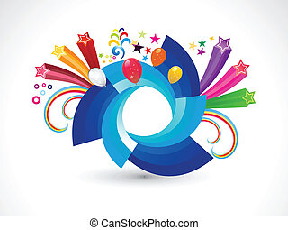 abstract rainbow rounded circle explode vector illustration