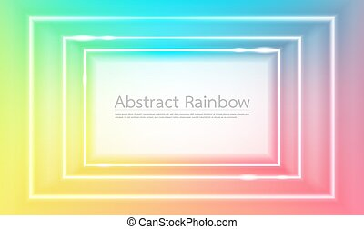 Abstract rainbow squares frame background vector