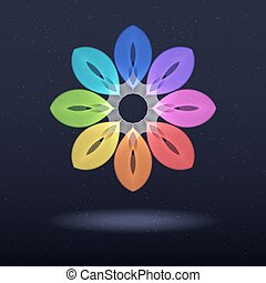 Abstract Rainbow Symbol - Octagonal Flower.