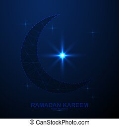 Abstract ramadan kareem in the space, low poly style design