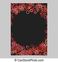 Abstract random circle design page template - vector blank stationery border design with red rings on black background