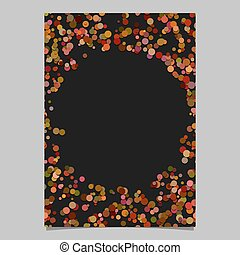 Abstract random dot design page template - blank poster border graphic with circles on black background