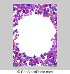 Abstract random dot design page template - trendy vector blank poster border graphic with purple circles